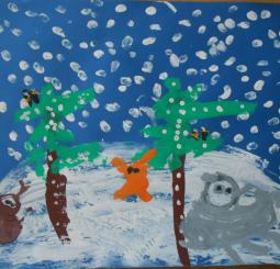 Zima v lese- obrázky do výtvarné soutěže